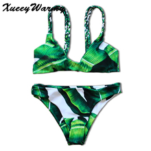 Green Triangle Bikini Set Top Push Up Brazilian Bikini 2017 Swimwear women Swimsuit Batching Suit Bikinis Women Print Biquini(China)
