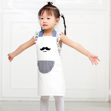 2017 New Women And Kids Apron Kitchen Cooking Cotton Apron White Fashion Adult Work Apron For Pockets(China)