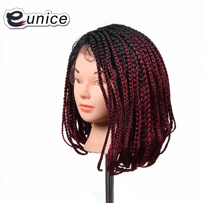 Short Bob Synthetic Wig Heat Resistant Braiding 3S Box Braids Synthetic Lace Front Wigs Ombre Burgundy Wigs FOR women USA UK(China (Mainland))