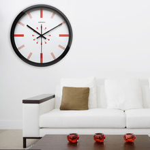 Airinou Creative Brief Red And Orange Line Design Glass And Metal Wall Clock Silent Movement Creative Studio(China)