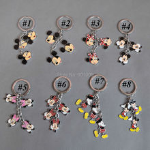 Free Shipping 1PCS Fashion Men Women's Lovely Running Keychains Mickey Minnie Mouse Cartoon Bag Charm Keyrings