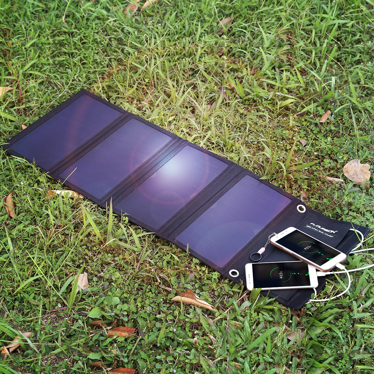 FLOUREON 28W Foldable Waterproof Solar Panel Charger Mobile Power Bank for Smartphones Tablets Triple USB Ports Outdoor 10