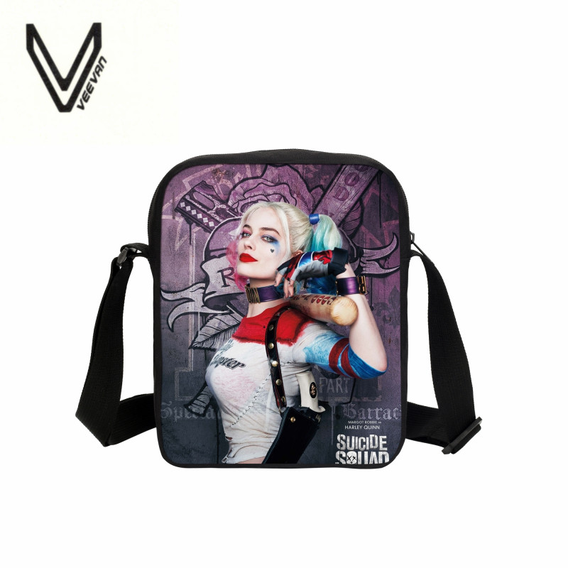 2016 students love Dutch act squad, task force X, 3D printing small satchel, violent Lolita, clown, a beautiful fashion gift(China (Mainland))