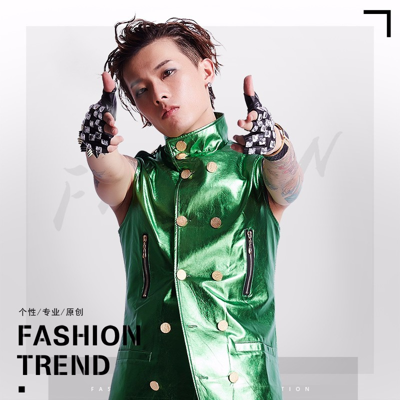 male costume Male Rock Sequin VEST COSTUME male Korean long coat jacket night bar DJ stage outfit fashion for singer dancer star