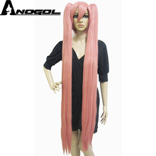Anogol Vocaloid Long Straight Double Ponytails Pink Harajuku Synthetic Cosplay Wig For Halloween(China)