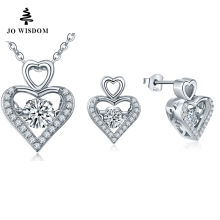 JOWISDOM Austrian Crystal Heart Pendant Necklace Earrings Stud with Dancing Natural Topaz Sets For Women Gift