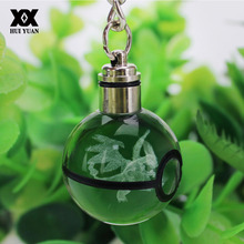 Hot Sell Mega Charizard Batman 3D Engraving Glass ball Lamp Pokemon Go LED Keychain Colorful Pendant Child's Gift(China)
