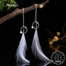 INALIS Feather Dangle Earrings for Women Brincos Bijoux boucle d'oreille Jewelry Gift 100% 925 Sterling Silver Wholesale(China)