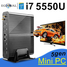 Barebone PC NUC Intel Core i7 5557U 5550U Iris 6100 безвентиляторный мини ПК Windows 2 HDMI 2 LAN SD карта К 4 к HTPC Mini-Itx Micro PC(China)
