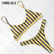 Buy OMKAGI Brand Swimwear Women Swimsuit Sexy Push Micro Bikinis Set Swimming Suit Bathing Suit Beachwear Brazilian Bikini 2018