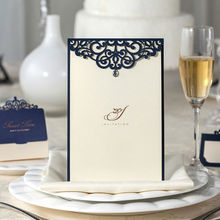 Wishmade 12pcs/lot Blue Laser Cut Rhinestone Lace Wedding Table Decoration Menu Card Elegant Party Business Supplies CM502