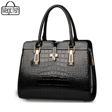 Elegant Alligator Patent Leather Women Handbag Medium Women Bag Cross Lock Design Women Leather Handbags Female Bolsas C0718/l