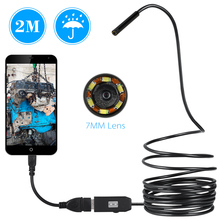 USB Endoscope 0.3MP Borescope 7mm 2M Cable Probe Waterproof Inspection Borescope 6 LEDs USB Wire Snake Tube Camera