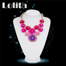2016 Women  Yellow Gold Color Wedding Bride Flower Necklaces Indian Chic Metal Fake Collar Dress Accessories Jewelry NL033