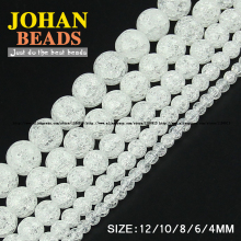 JHNBY White Popcorn crystal beads Natural stone Round Crack Loose bead 4/6/8/10/12MM Jewelry bracelet Making accessories DIY