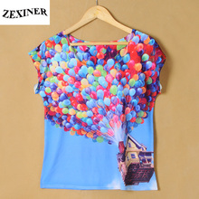 ZEXINER 2017 Summer Tshirt For Women Punk Rock Digital 3D Colorful Balloon Printed Tshirt Female Casual Breathable Clothes Women