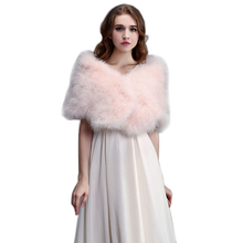 Real Ostrich Fur Shawls Natural Fur Wraps Women Evening Dress Solid Winter Fashion Shawl 100% Turkey Feather Pashmina AU00795(China)