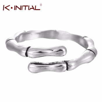 Kinitial 1Pcs 925 Silver Bamboo Shape Open Rings For Women Girl Fashion Hypoallergenic Midi Finger Knuckle Bone Ring Jewelry