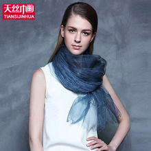 100% Pure Silk Scarf Female Lightweight Scarf luxury brand Gift Ladies Scarves Summer Double Layer Color Solid Scarf Women