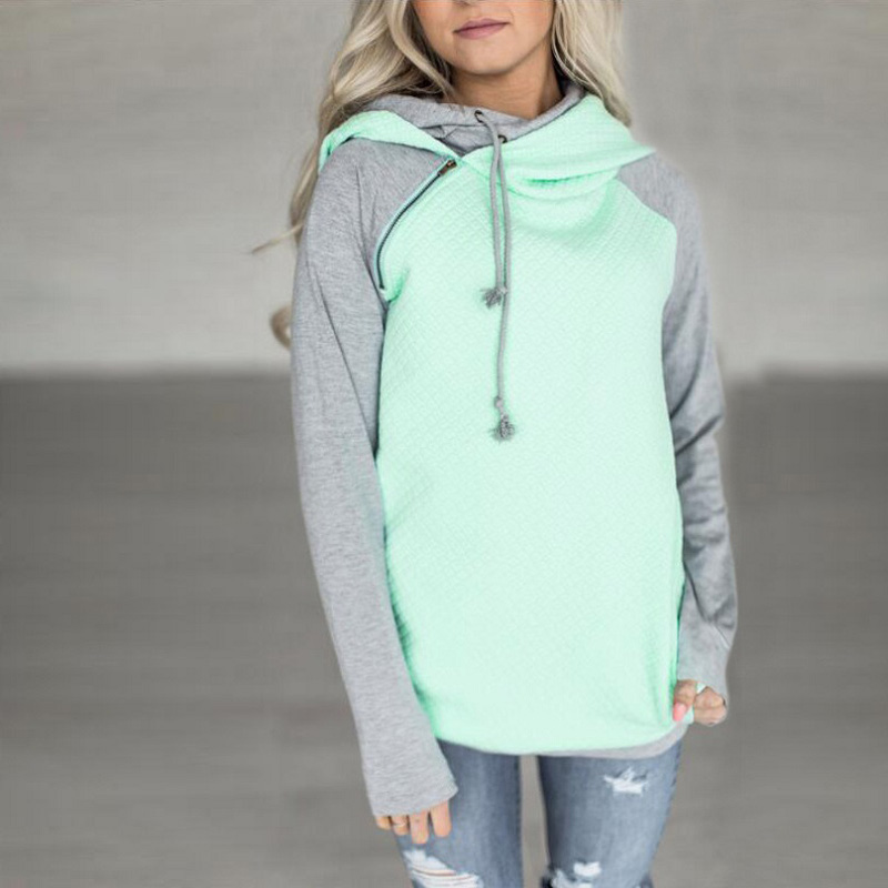 New Double Hood Sweatshirt, Women's Long Sleeve, Side Zipper Hooded Casual Pullover 7