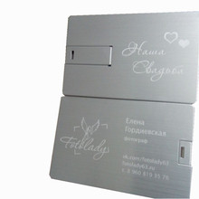 Wholesale Customized Logo Metal Business Credit Card USB 2.0 Flash Pendrive laser print (over 20pcs free logo )
