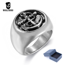 Round Anchor Silver Ring For Men Stainless Steel Rock Punk Biker Rings Vintage Soldier Military Mens Rings Fashion Male Jewelry(China)