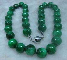 free shipping very good Stunning unique NATURE GREEN 10MM  BEADS JADEITE NECKLACE 18INCH Natural silver wholesale   (A0424)