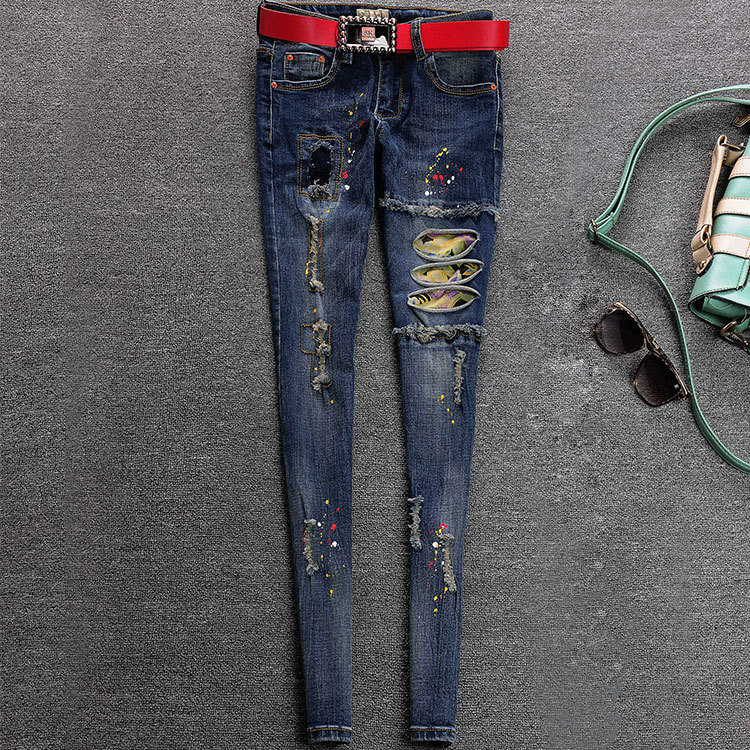 Spring Summer Style Skinny Jeans Woman Street Painted Patchwork Ripped Jeans Ladies Denim Pants Female Casual Pencil PantsОдежда и ак�е��уары<br><br><br>Aliexpress