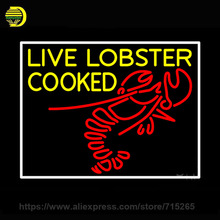 Neon Sign Live Lobster Cooked Neon Light Sign Neon Bulb Shopping handcraft Glass Tube Custom Art Iconic Sign Indoor Lamp 24x31(China)