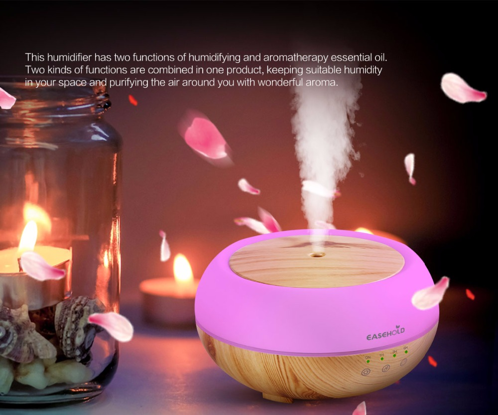 Easehold 300ml Aroma Essential Oil Diffuser Ultrasonic Cool Mist Humidifier LED Night Light for Office Home Bedroom Living Room