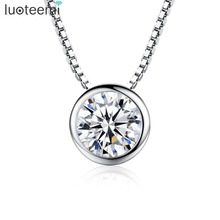 LUOTEEMI High Quality 1 Carat Single Clear Cubic Zirconia S925 Sterling Silver Jewelry Bridal Engagement Silver Pendant Necklace(China)