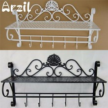 Wrought Iron Wall Towel Rack Shelf Bathroom Storage Rack Single Prateleira Wall Shelf Toilet Shelving Storage Rack