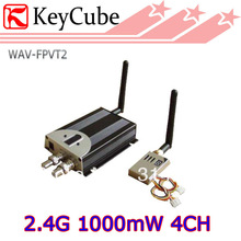FPV 2.4G 1000mW 4CH Professional Wireless AV Sender Video Audio Transmitter Receiver 2.4Ghz 1W  Free Shipping