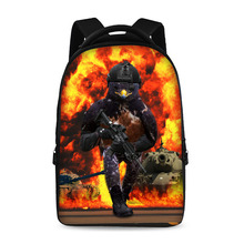 17 inch spoof war pattern school backpack youth boys and girls laptop bag can store 15 inch computer