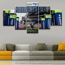 Pictures One Set Framework Living Room Modern Decorative Poster 5 Panel Sports Seattle Seahawks On Site Wall Art Canvas Painting(China)