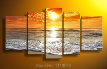 Modern Gold Sandy Beach Seawater Sunset Oil Painting On Canvas Abstract 5 Panel Arts Set Home Decor Wall Picture For Living Room