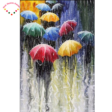 diy Square / round diamond painting cross stitch 3d diamond mosaic embroidery kits picture of stones rain color umbrellas(China)