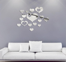 Lovely 16PCS Mirror Hearts Decoration Home Room Art 3D DIY Removable Vinyl Wall Stickers Pegatinas De Pared #TX5(China)