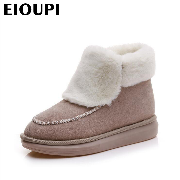 EIOUPI warm winter snow boots real cowhide leather women casual fashion thread sewing ankle flat boot ohz5806a<br>