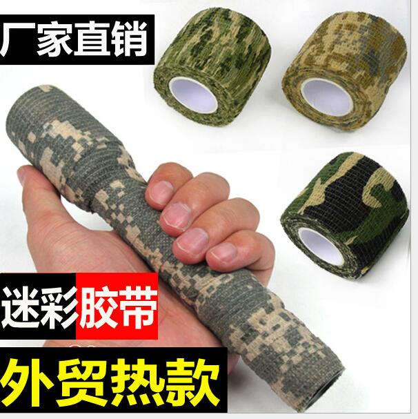 10pcs Sticky telescopic camo fabric from outdoor hunting hunting camouflage camouflage adhesive tape ride bike tools stickers(China)