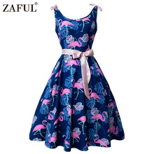 ZAFUL Women Pin up Dress Retro Hepburn 50s Rockabilly Robe Swing Feminino Vestidos flamingo Pattern 2017 Vintage Party Dresses(China)