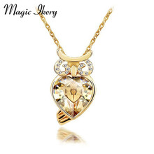Magic Ikery Fashion Luxury Crystal Design Owl Pendant Necklace Rose Gold/Silver Color Imported Jewelry for women MKY4233(China)