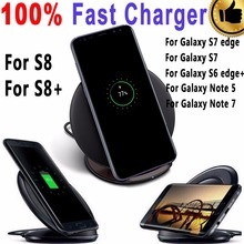 100% Original Qi Real Fast Wireless Charger Pad For Samsung Galaxy S6 edge Plus S7 S7 Edge S8 S8+ Plus / Note 5 Wireless Charger