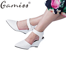 Gamiss Summer Women High Heel Sandals Pointed Toe High Heels Shoes Platform Wedges Walk Shoes All Match Shoes Women Casual Pumps