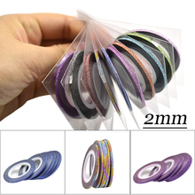 1pcs 2mm Glitter Mixed Colors Rolls Strip Tape Line Nail Art Decoration Sticker DIY Nail Art Striping Tape Line Case Tip TRNC383