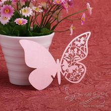 Wedding Table Decoration Wine Glass Name Place Card Wedding Party Laser Cut Butterfly Pink