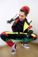 2016 new fashion Plus size Men's singer dancer multicolour rivets outerwear pants DJ stage wear costume male suit top trousers(China)