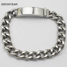 Stainless Steel Chain Blank ID Tag Bracelet & Bangle 22.5cm Womens Men Silver Color Jewelry 1 Piece Free Shipping