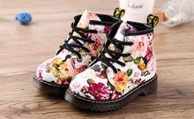 Kids Boots Leather 2017 New Fashion  Floral Flower Print Children Baby Martin Boots Cute Casual Girls Boots Shoes