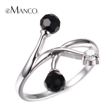 Cute Black crystals ball fashion rings for women eManco 2015 new promotions woman brand ring accessories BR00011(China)